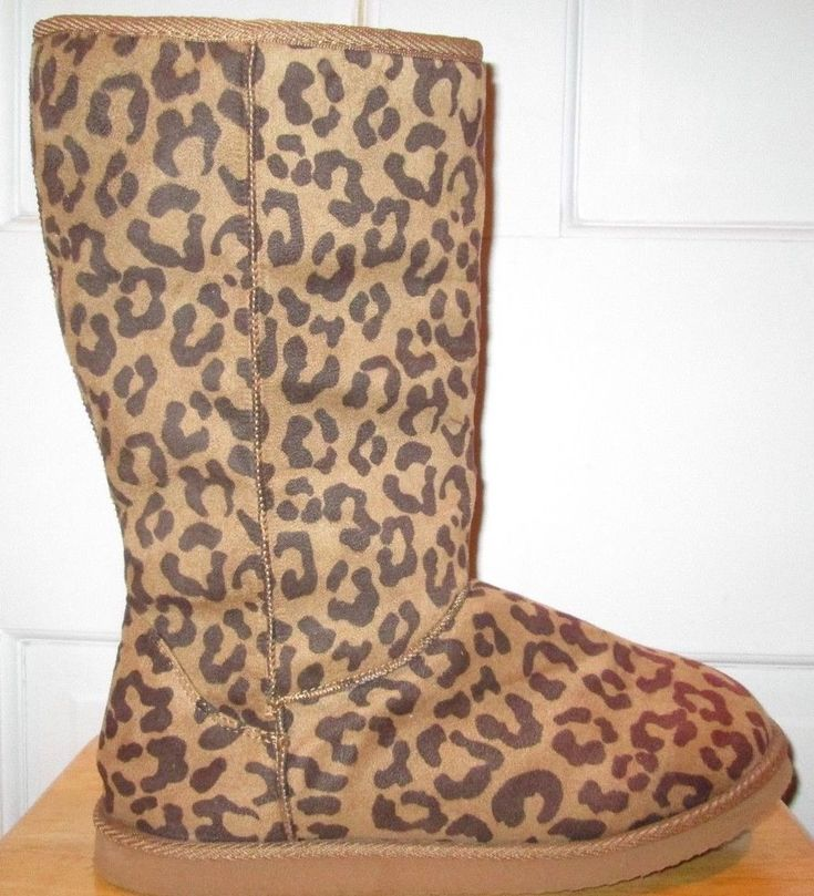 Old Navy Brown Leopard Print Winter Boots Size 9 #OldNavy #Boots