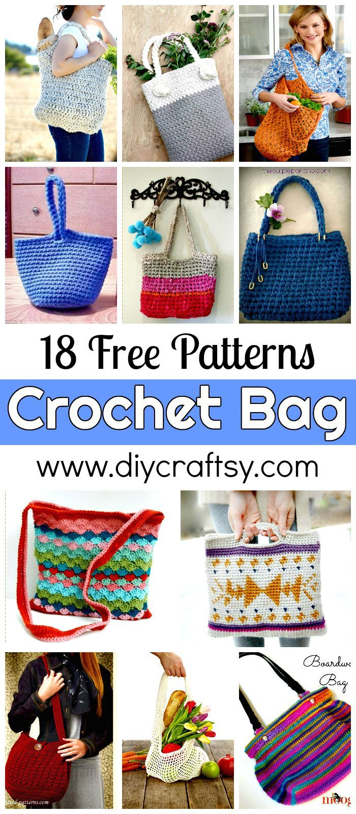 18 Free Crochet Bag Patterns / Crochet Tote Bags - DIY & Crafts