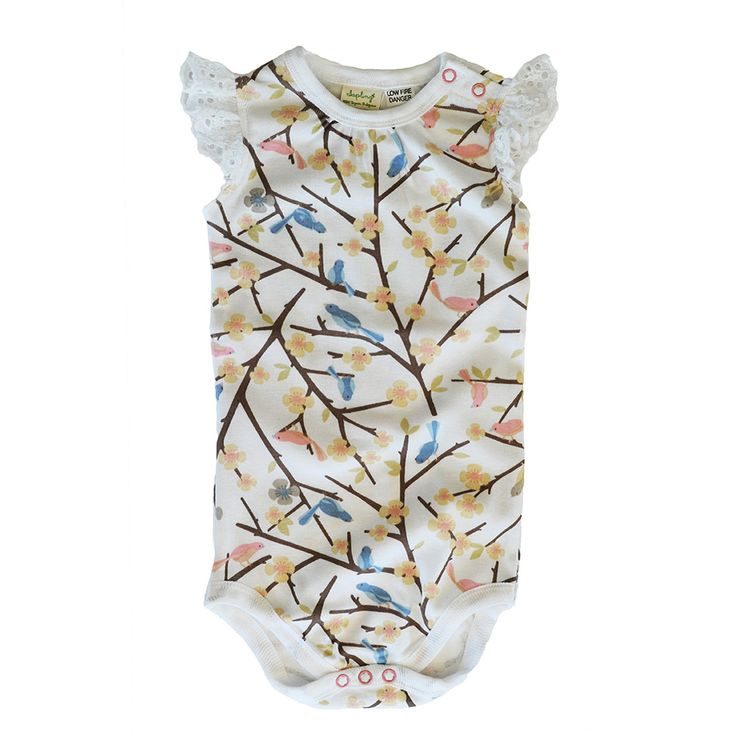 This gorgeous bird print onesie is made from 100% organic cotton and is printed with organic vegetable dyes.