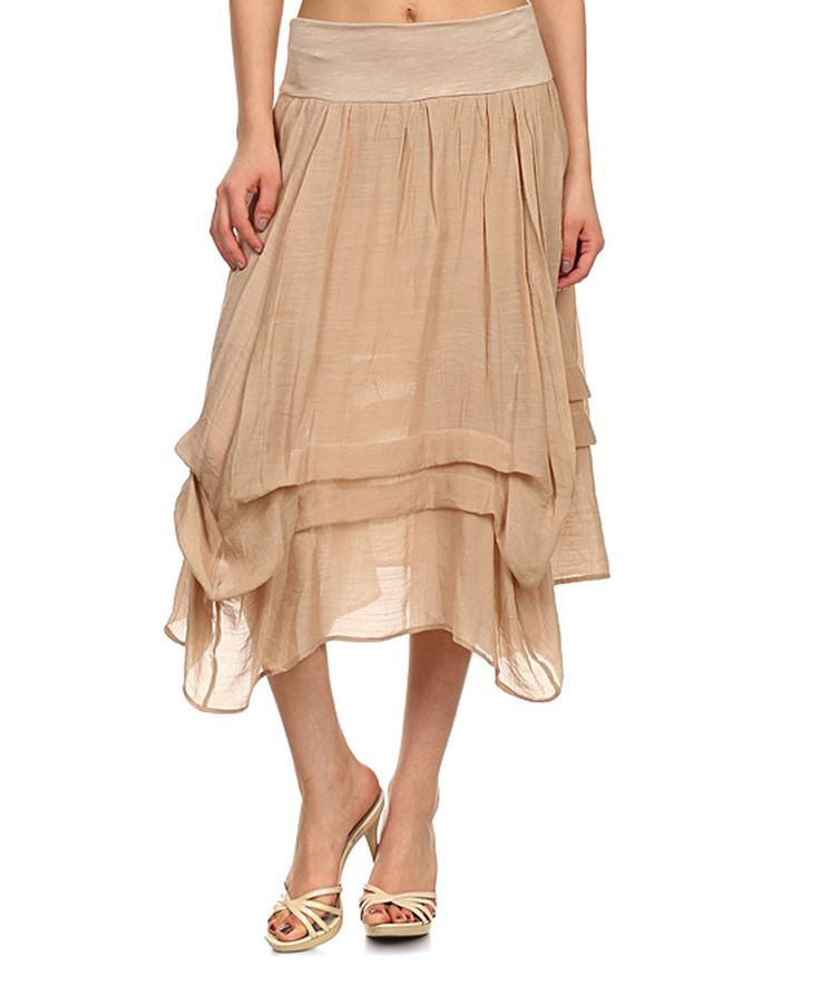 Love this J-Mode USA Los Angeles Khaki Gathered Midi Skirt by J-Mode USA Los Angeles on #zulily! #zulilyfinds