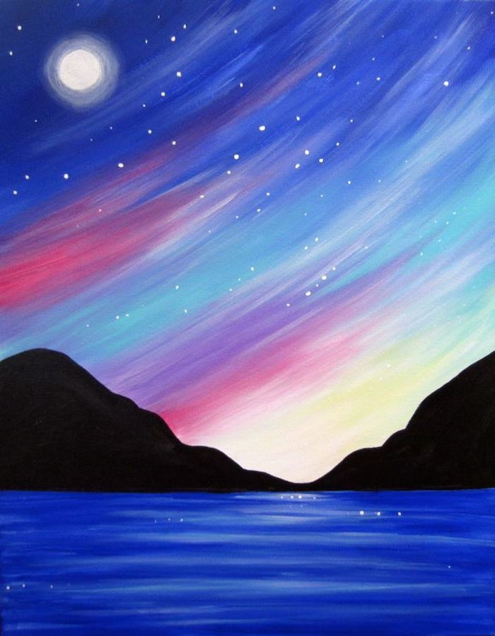 Easy Mountain Sunset Painting : mountain, sunset, painting, Blue-lake-surrounded-by-mountains-at-sunset-diy-canvas-painting-moon-high-up-in-the-sky, Beginner, Painting,, Canvas, Simple, Acrylic, Paintings