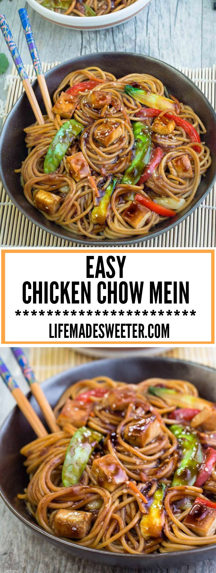 Easy Chicken Chow Mein is the perfect meal for busy weeknights. Best part of all, made all in ONE POT & comes together in just 30 minutes with authentic flavors - SO much better and healthier than takeout!
