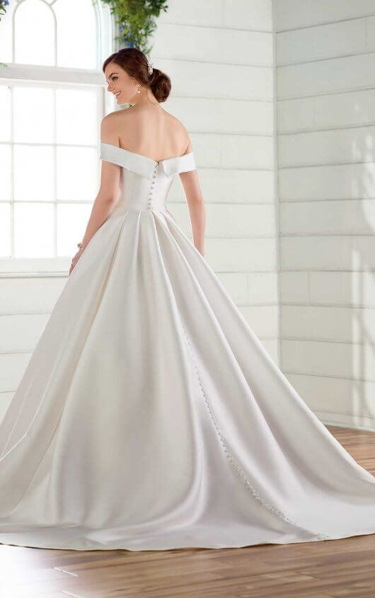 bfc7f7ebee3d7 D2716 Simple Ballgown Wedding Dress with Off-the-Shoulder Sleeves by Essense  of Australia