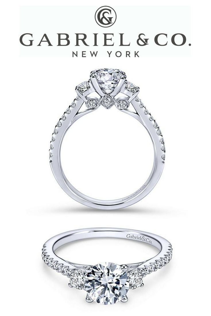 14k White Gold Round 3 Stones Diamond Engagement Ring This Thre