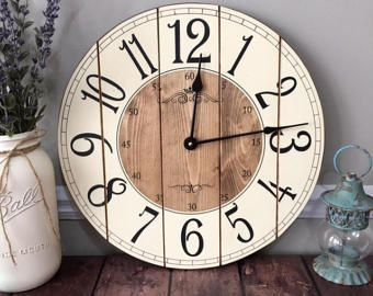 16 Inch Farmhouse Clock - Rustic Wall Clock - Small Wall Clock - Unique Wall Clock - Personalized Clock - Distressed Clock - Wooden Clock