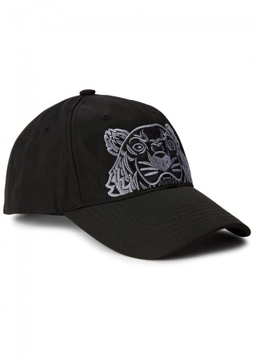 KENZO BLACK TIGER-EMBROIDERED COTTON CAP.  kenzo    446143a8123