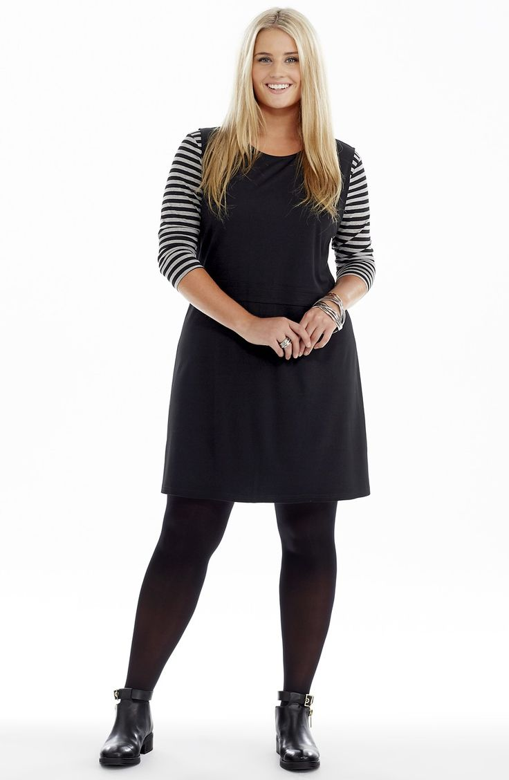 Sleeveless Tunic Dress - Black - Style No: D2218 Stretch Ponti Fabric Sleeveless tunic dress. This Tunic dress features a long exposed back zip. The dress has a wide waist band detail and seam detail on the shoulder #dreamdiva #dreamdivafiles #plussize #fashion