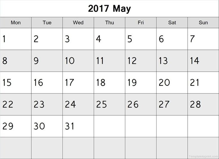 May 2017 Calendar Monday Start PDF File | 2017 Calendar ...