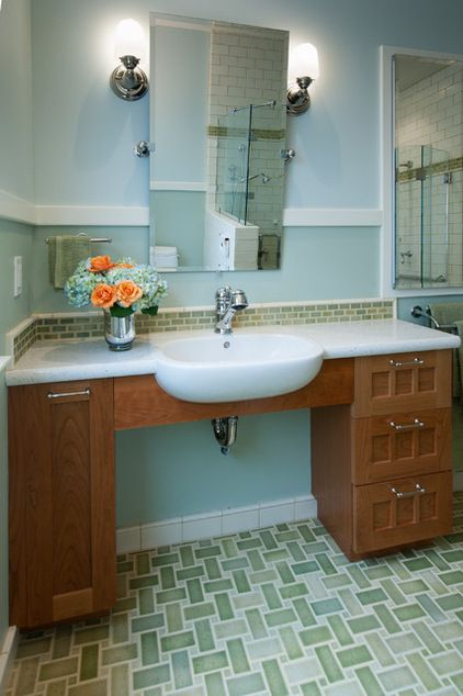 Traditional bathroom by design set match universal designed bathroom sink accessible with a for Wheelchair accessible sink bathroom