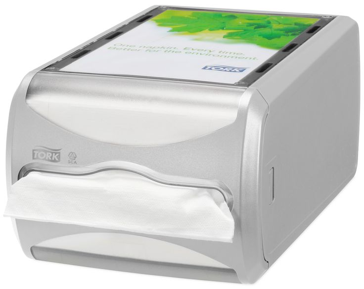 Tork Xpressnap® Counter Napkin Dispenser: We guarantee Tork Xpressnap® napkin dispensing system will reduce napkin usage by at least 25% compared with traditional dispensers, helping you to reduce napkin consumption and waste. (System: N4 - Interfolded napkin system; Material: Plastic; Height: 145 mm, Width: 191 mm, Depth: 307 mm; Color: Light grey) Get more information about this product at: http://bimobject.com/en/sca-eu/product/272513/sca-tork-eu