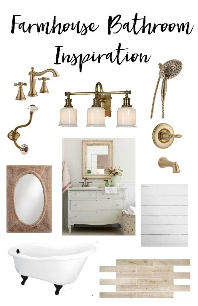 A Peek Inside Our Farmhouse Bathroom Inspiration With Vintage And Gold  Details And Infusing Coastal Details