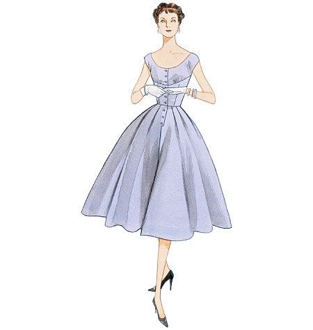 1950s Inspired Misses Summer Party Dress Sewing Pattern, Low Neckline, Reissue of 1954 Vogue Pattern 2960 sizes 4, 6, 8, 10, uncut