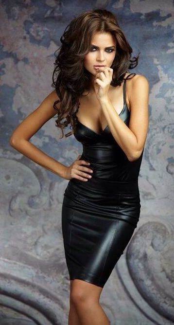 Little Black Leather Dress |=