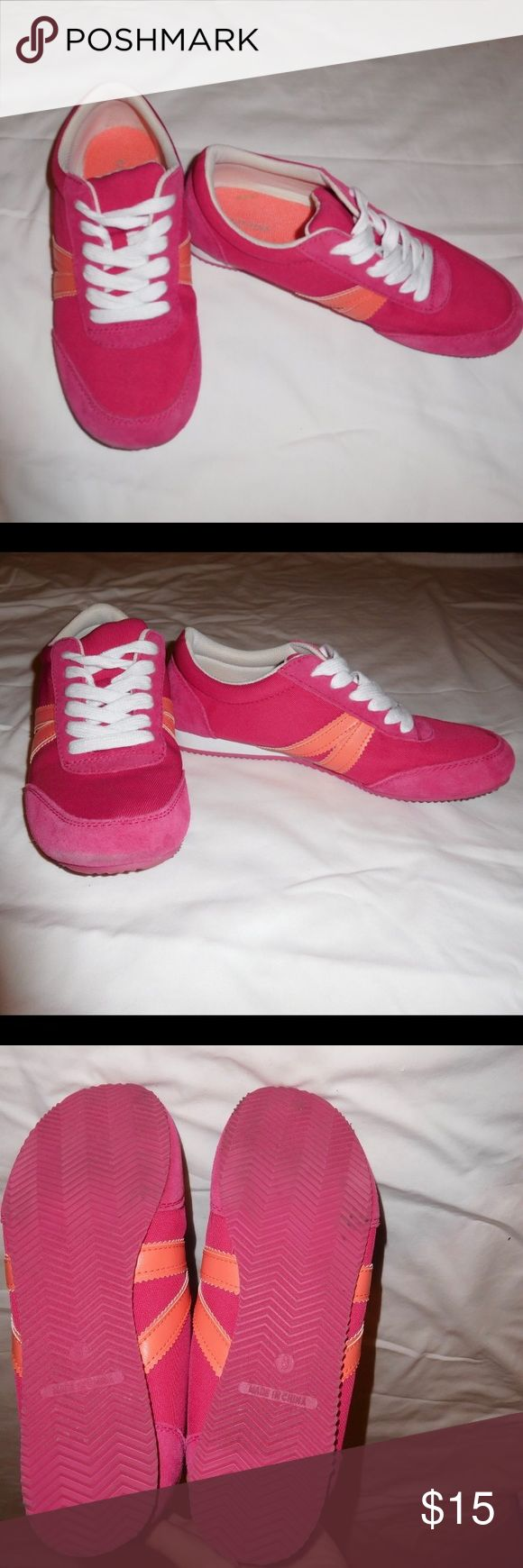 Pink and Orange Sneakers Barely worn lightweight fashion sneakers. Not recommended for athletic wear. Old Navy Shoes Sneakers