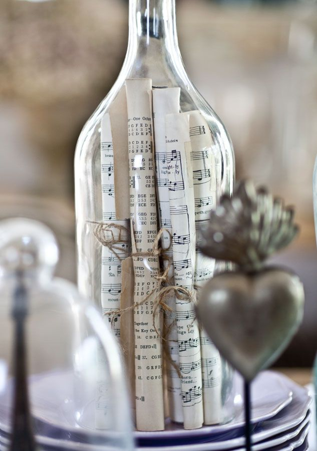 Tips on displaying collections l sheet music in bottle