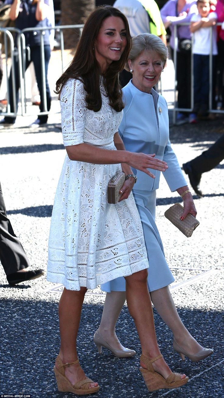 Lady in lace: The Duchess of Cambridge wore Australian designer Zimmermann as she arrived at Sydney's Royal Easter Show on Good Friday in Australia