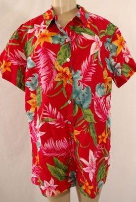 Sz L 2 CHICOS DESIGN Red Pink Hawaiian LINEN Tencel Short Sleeve Top Shirt