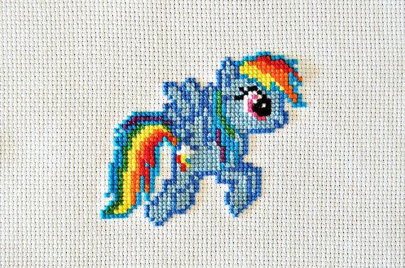 PATTERN  My Little Pony  Rainbow Dash  Cross Stitch by WistfulBird, $4.00