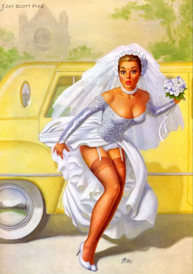 """Jay Scott Pike (b.1924) Jay Scott Pike's pinup work included succeeding Art Frahm on the """"panties-falling-down"""" series for the A. Fox calendar company.                                                                                                                                                     More"""