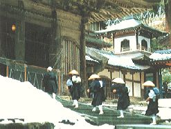 """Eiheiji, the """"temple of eternal peace"""" is one of Soto Zen's two head temples.  It is located deep in the mountains near the rugged west coast of Japan, not far from Fukui City, Fukui prefecture.  The founder of Eiheiji is Dogen zenji (1200~1253).  He  devoted himself to training his followers in the perfection of Zen practice in every action of daily life.  These rules are strictly kept still now."""