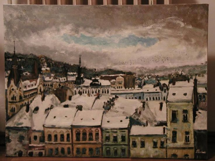Winter Landscape of Cluj. Brushing technique. Oil on canvas. Dimensions:80 x 65 cm
