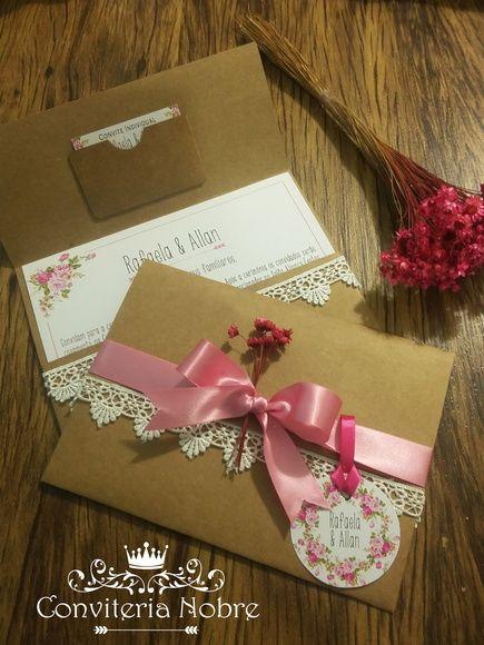 Convite de casamento rústico romântico