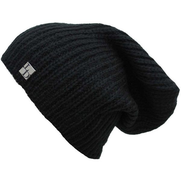 Black Acrylic Mohair Slouchy Knit Beanie Cap Hat ($14) ❤ liked on Polyvore featuring accessories, hats, beanies, black, slouch cap, knit cap, caps hats, knit beanie and slouchy beanie
