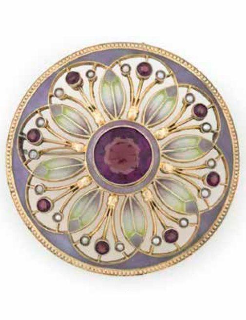 HEINRICH LEVINGER - A Jugendstil silver, part gold plated, plique-à-jour enamel, amethyst and pearl brooch, Pforzheim, 1900-10. 11.9mm diameter. #Levinger #Jugendstil #brooch