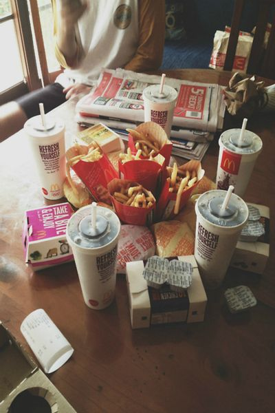 Summer: a trip to mcdonalds for a but load of food with lots of friends.