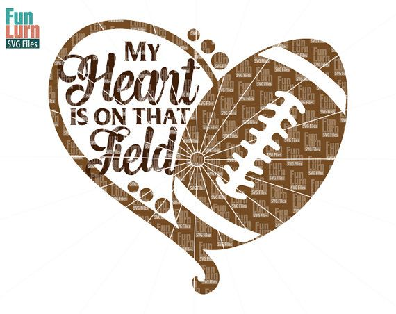My heart is on that field Football heart SVGFootball by FunLurnSVG