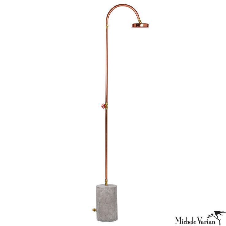 - Copper and cement outdoor shower - Easy hook up to garden hose 87 inches high…
