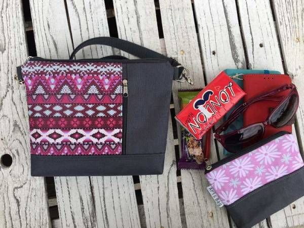 Handmade Canvas Crossbody and Belt Bag - Waterproof Mulberry aztec Design