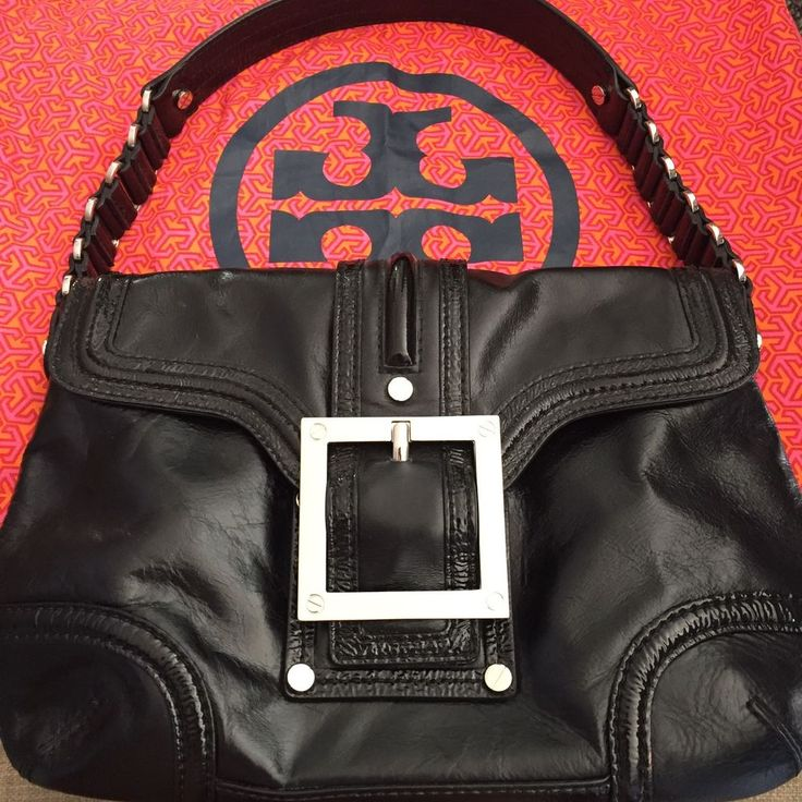 Tory Burch Leather Buckle Shoulder Bag Preowned Mint With Dust Bag $500+ Retail! #ToryBurch #ShoulderBag