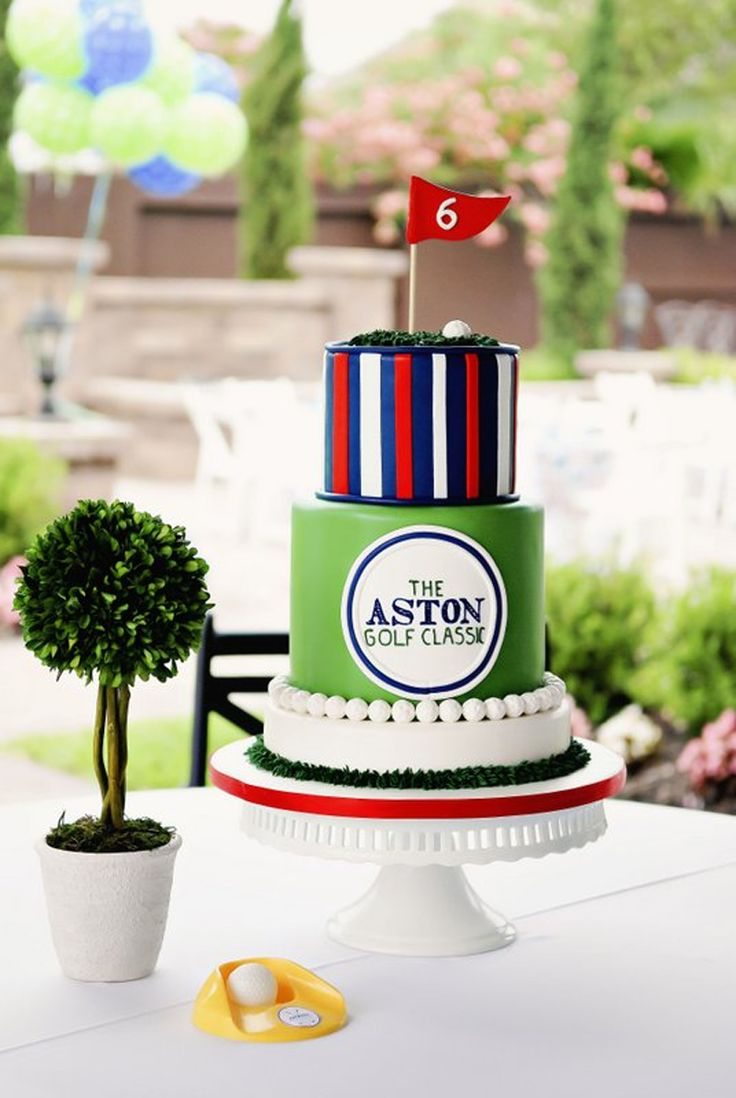 three tier golf cake for preppy golf party