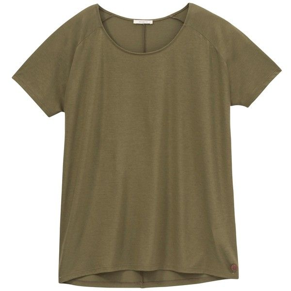 Lee Oversized T-Shirt, Army Green found on Polyvore featuring tops, t-shirts, brown tops, lee t shirts, relax t shirt, oversized tee and short sleeve t shirt