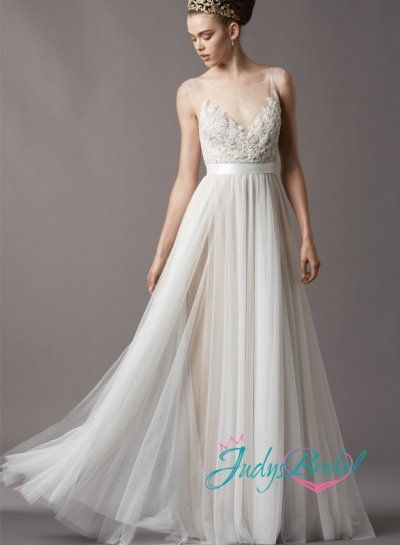 Jc11055 Bohemian Flowing Lace Tulle Airy Wedding Dress Pinterest Dresses And Gowns