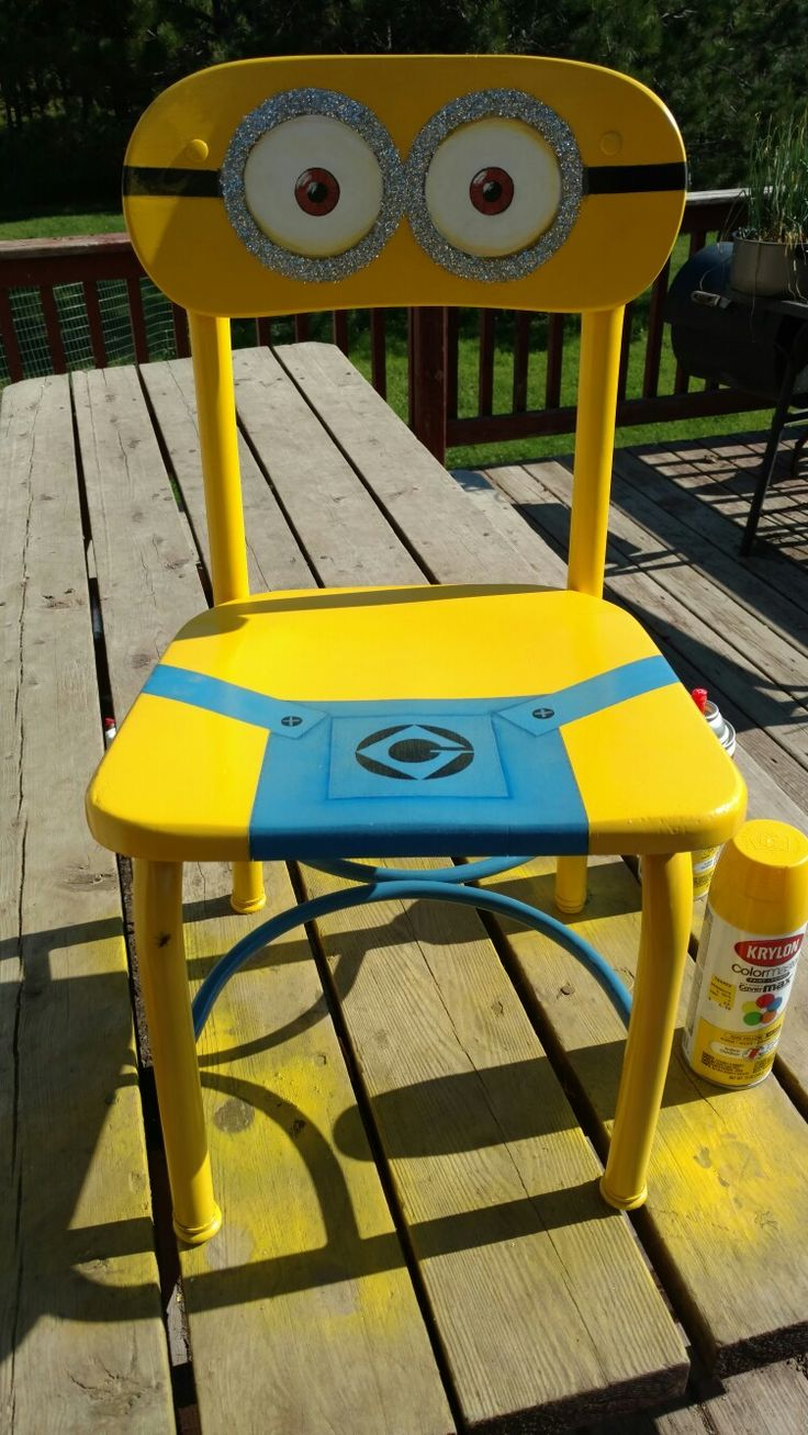 Hand painted minion Dave children's school chair.