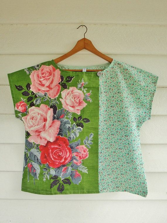 Upcycled Linen Tea Towel Top Shirt Women Vintage by apieceofpie, $72.10