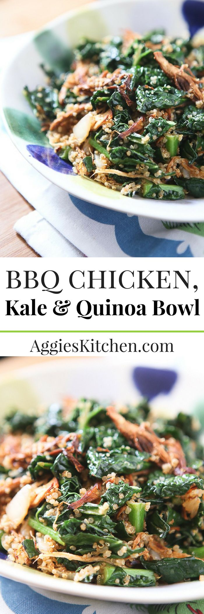 BBQ Chicken and Kale Quinoa Bowl - this healthy recipe comes together quickly and easily, a family favorite!