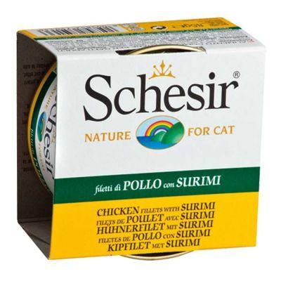 Schesir Tavuklu ve Yengeç Etli Kedi Konservesi 85 Gr  Besinler dikkatli işlenmesiyle elde edilmiştir.Yüksek kaliteli ıslak kedi mamasıdır.   Tam ıslak Schesir doğal tavuklu ve yengeç etli konserve kedi konservesi . Tüm gerekli besinleri günlük diyet, mikro ve makro, vitaminler ve taurin içerir. Taze tavuklu ve yengeç etli ile hazırlanan lezzetli ve sağlıklı üretimdir. Schesir konserveler renklendirici ve koruyucu madde ilavesi olmadan doğal ve organik üretilmiştir. Tavuk göğsü% 51, surimi%…