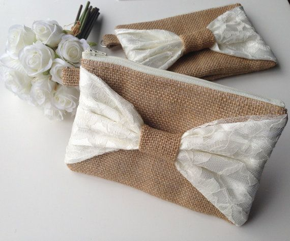 Burlap Wristlet - Bridesmaids Gifts - Wedding Clutch - Burlap Wristlet ...