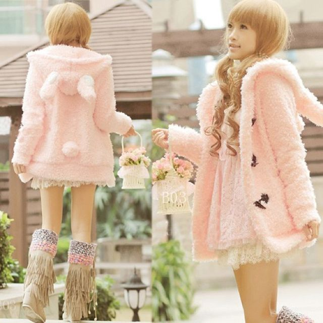 Sweet Lolita fairy kei fuzzy bunny jacket~ not a fan of the boots, but this could keep me stylish and warm in the winter. A win win~!