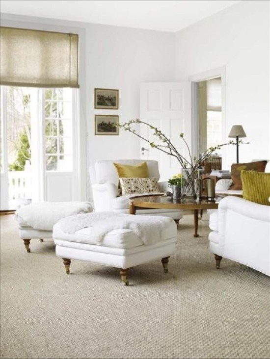 Love: White Dove, Living Rooms, Romans Shades, Neutral Palette, Home Design Decor, Window Treatments, White Elephant, White Furniture, White Wall