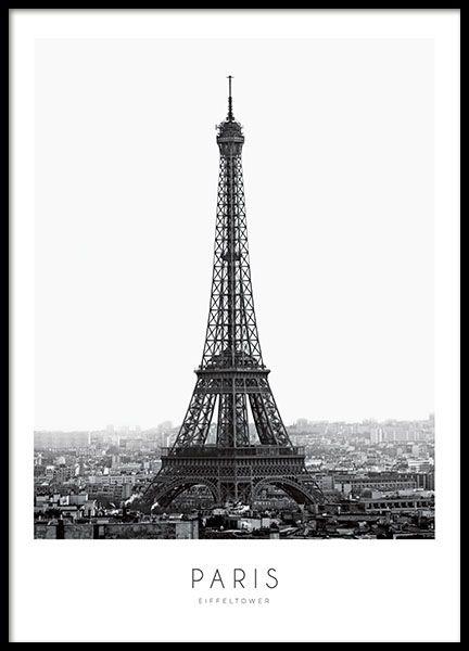 Stilvolles Poster mit Fotografie des Eiffelturms i…