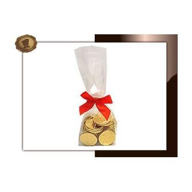 Zakje Chocolade munten Per 100 gram.   Smaak Melkchocolade. Verpakt in Transparant blokzakje met clipstrik. Te bestellen vanaf 250 stuks. #chocolade #muntjes