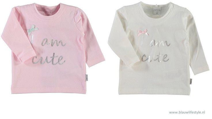 Name it: shirt Nitkhloe, €11,95. Super schattig babyshirtje, 50-68.  http://www.blauwlifestyle.nl/nl/babykleding/meisje.html?merken=150