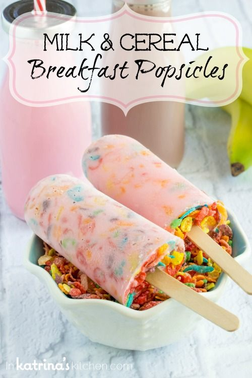 These Milk and Cereal Breakfast Popsicles are full of Greek yogurt, milk, cereal, and bananas so you'll feel great about serving them up any summer morning!