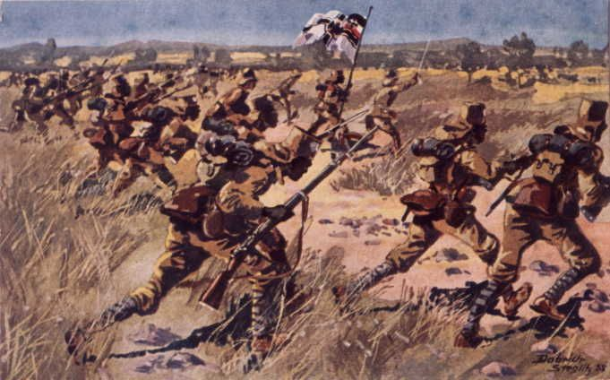 German troops advancing during battle WWI. German East Africa