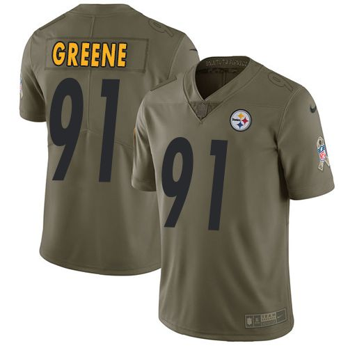 Nike Steelers #91 Kevin Greene Olive Men's Stitched NFL Limited 2017 Salute to Service Jersey