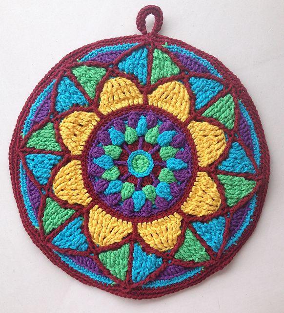 Ravelry: Stained Glass Mandala Potholder pattern by Tatsiana Kupryianchyk